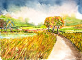 Landscape watercolor painted