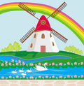 Landscape with windmill illustration Royalty Free Stock Photo