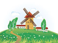 Landscape with a windmill vector illustration of stylized solar summer Stock Photo