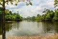 Landscape wooden bridge across water Royalty Free Stock Photo