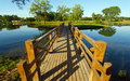 Landscape with wooden bridge and river Royalty Free Stock Image
