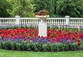 Landscaped flowerbed with classic architecture details Royalty Free Stock Photo
