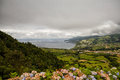 The landscapen on sao miguel volcanic hills island azores portugal Stock Image