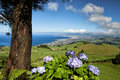 The landscapen on sao miguel volcanic hills island azores portugal Royalty Free Stock Photography
