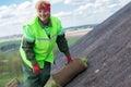 Landscaper worker installing sod Royalty Free Stock Photo