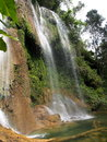 Landscapes of cuba waterfall in jungle in parque natural topes de collantes Royalty Free Stock Photo