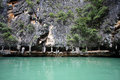 Landscapes and lime stone at phang nga national park in thailand Stock Photos