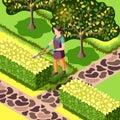 Landscaping Bushes Trimming Isometric Illustration Royalty Free Stock Photo