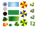 Landscaping icons set of with turf umbrellas plants and paving blocks Stock Images