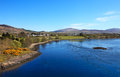 Landscaping view of loch etive and villages in sunny spring day photo was taken from the bridge strong stream is visible in the Stock Images
