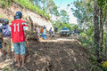 Landslide chiang mai thailand october peoples help together clear tree and soil on local road because of on october in omkoi Royalty Free Stock Photo