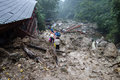 Landslide destroy buildings distroyed by located in sichuan china Stock Image