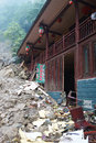 Landslide destroy buildings distroyed by located in sichuan china Stock Photo