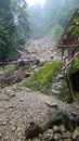 Landslide destroy buildings distroyed by located in sichuan china Royalty Free Stock Photos