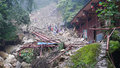 Landslide destroy buildings distroyed by located in sichuan china Royalty Free Stock Images