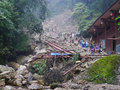 Landslide destroy buildings distroyed by located in sichuan china Royalty Free Stock Photography