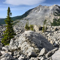 Landslide frank alberta landscape featuring the that occurred at in Royalty Free Stock Image