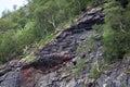 Landslide risk with porous rocks in bindal in nordland norway Stock Photo