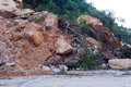 Landslide on the road after heavy rain zhuhai china Royalty Free Stock Images