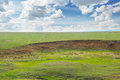 Landslide and soil erosion on agricultural fields Royalty Free Stock Photo