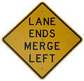 Lane Ends Merge Left Stock Images