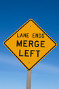 Lane Ends Merge Left Sign Stock Image