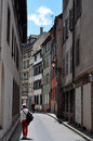 A narrow laneway on a sunny day in Strasbourg, France Royalty Free Stock Photo