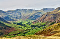 Langdale, with Bowfell and Crinkle Crags Royalty Free Stock Photo