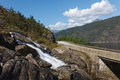 Langfoss waterfall norway detail of lovely and a road Royalty Free Stock Image