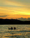 Langkawi Beach. Kayak / Canoe at Sunset Royalty Free Stock Photo