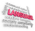 Language d words collage learning understanding word and related terms in a including community heritage communication society Stock Photo