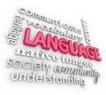 Jazyk  trojrozmerný slová koláž štúdium porozumenie