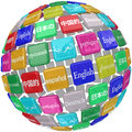 Language tiles globe words learning foreign international transl many languages in on a sphere of including english chinese Stock Image