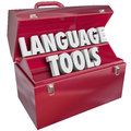 Language tools toolbox words foreign dialect in a red metal to illustrate educational and learning methods and systems for Stock Photos