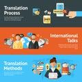 Language translator banner set horizontal with translation methods and process elements isolated vector illustration Royalty Free Stock Images