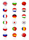 Languages flag set a of various flags and spoken in speech bubbles Stock Images