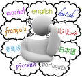 Languages thought clouds english spanish german french many diverse in above a thinker including russian chinese russian and Royalty Free Stock Image