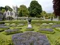 Lanhydrock gardens and church Royalty Free Stock Photo
