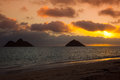 Lanikai sunrise over the mokulua islands off oahu hawaii Royalty Free Stock Images