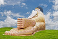 Lanna buddha statue on grass field and sky the Stock Photo