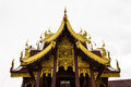 Lanna ubosot in wat kongkaw in doi lo chiangmai thailand Royalty Free Stock Photography