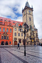 Lantern at astronomical clock tower in old town prague morning czech republic Royalty Free Stock Photo
