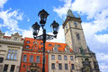 Lantern at astronomical clock tower in old town prague morning czech republic Royalty Free Stock Image