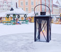 Lantern  on a background of the Christmas market Royalty Free Stock Photography