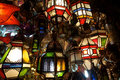 Lantern bazaar coloured ground lamps in agadir morocco Stock Photos
