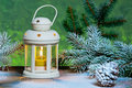 Lantern and Christma tree in the snow Royalty Free Stock Photo