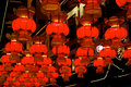 Lantern exhibition chinese red for spring festival celebration Stock Images