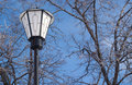 Lantern in front frozen trees on blue sky Stock Photos