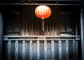Lantern hanging in front of house vietnam orange dark wooden popular vietnamese decoration and souvenir usually made bamboo Stock Image