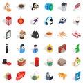 Lantern icons set, isometric style Royalty Free Stock Photo